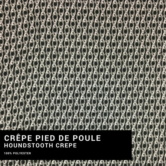 Half Metre Black /& White Polyester Dogstooth Fabric 100/% Polyester