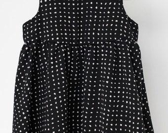 SUCRE D'ORGE - robe patineuse sans manches pour bébés - noir à pois