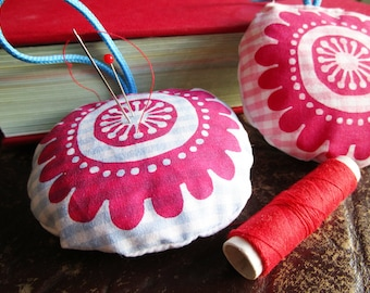 Flower, pin cushion, textile art, home decoration, deco pendant, sewn and printed by hand.
