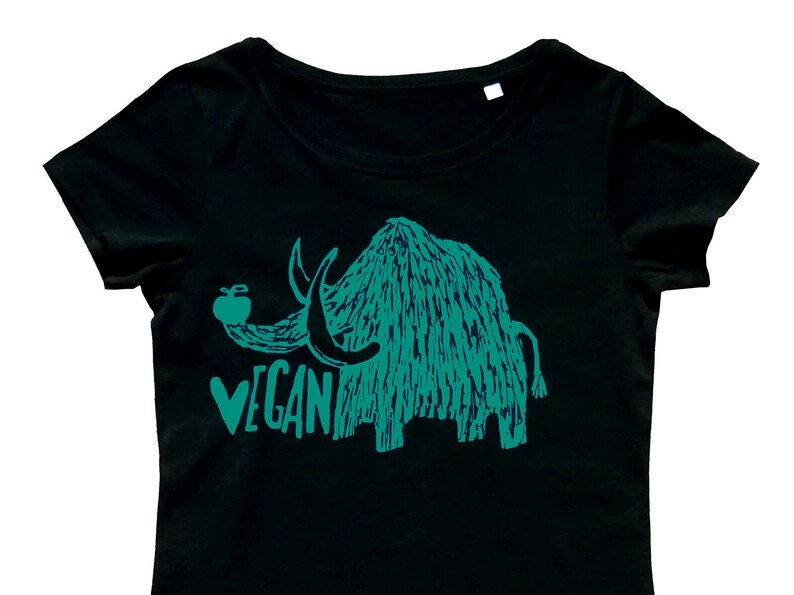 8ba58293c Vegan mammoth fairtrade & organic t-shirt women screen | Etsy
