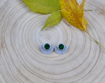 Antique Silver and Green Jasper Stone Stud Earrings