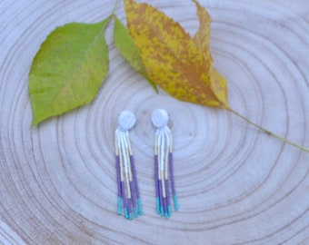Long beaded earrings with turquoise ends