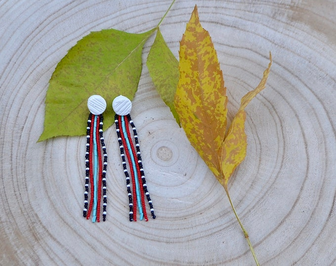 Polymer clay stud and bone stripe fringe earrings