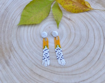 Long beaded aspen earrings