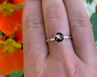Minimalist Black Onyx Sterling Silver Ring, Size 7
