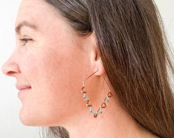 Geometric Gold Beaded Earrings, Gold earrings, Diamond shaped earrings, Beaded pink turquoise and maroon seed beads, handmade