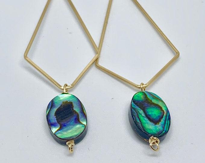 Abalone Shell Geometric Hoop Earrings, Gold, Contemporary Jewelry, Lightweight, Gift, Summer, Backyard Find, Ammonite Swirls, Handmade