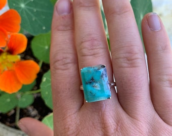 Natural Arizona Turquoise Sterling Silver Ring, Size 8