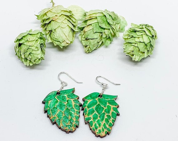 Hop Earrings/Laser Cut/Hand Painted/Sterling Silver/Colorado