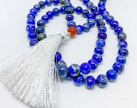 Mala bead necklace with blue lapis and red carnelian