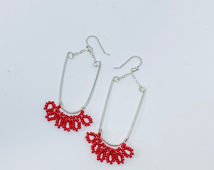 Beaded red circles boarding hoop earrings, sterling silver, lightweight, gift for her, outdoors jewelry, bohemian style, Georgia