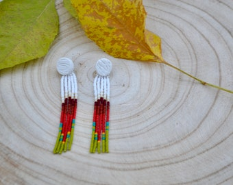 Polymer Clay Stud Earrings/ Long beaded fringe/Gift/Handmade in Colorado