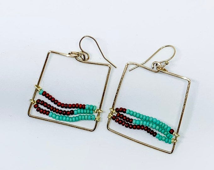 Square Earring Hoops, three beaded strands, turquoise and maroon red, light weight, gift, desert landscape beadwork, Square Earrings, Dangle