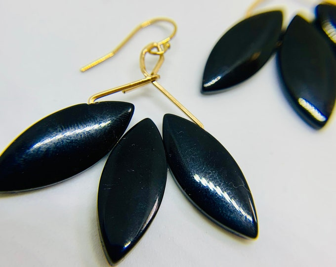 Featured listing image: Golden Hoop Earrings with Black Onyx Stones