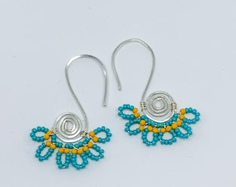 Turquoise oval swirl hoops, sterling silver, wire wrapped, lightweight, gift for her, outdoors jewelry, bohemian style, beadwork