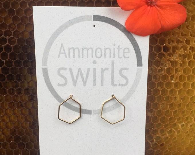 Honeycomb Stud Earrings, Origami Earrings, Minimal Earrings, Geometric 14K Gold Filled Ear Jewelry, Gift, Gold Earrings