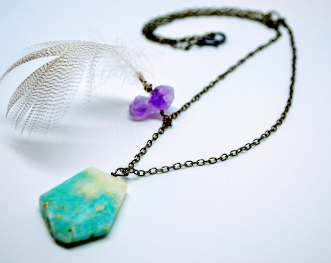 Long Turquoise Necklace Amethyst Feather Jewelry Chain Necklace Bronze