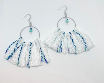 Fringe hoop earrings tassel earrings trival boho bohemian green white cream blue colors