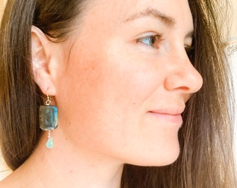 Lazulite and Chrysoprase tear drop earrings, Contemporary Jewelry, Stone Jewelry, Gift, Translucent Stones, Filters light, Ammonite Swirl