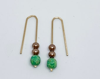 Czech faceted glass and brown pearl Gold Earring, Gift, Minimal Jewelry, Christmas, Unity Hook Earring, Thread Through Jewelry, Dangle Ear