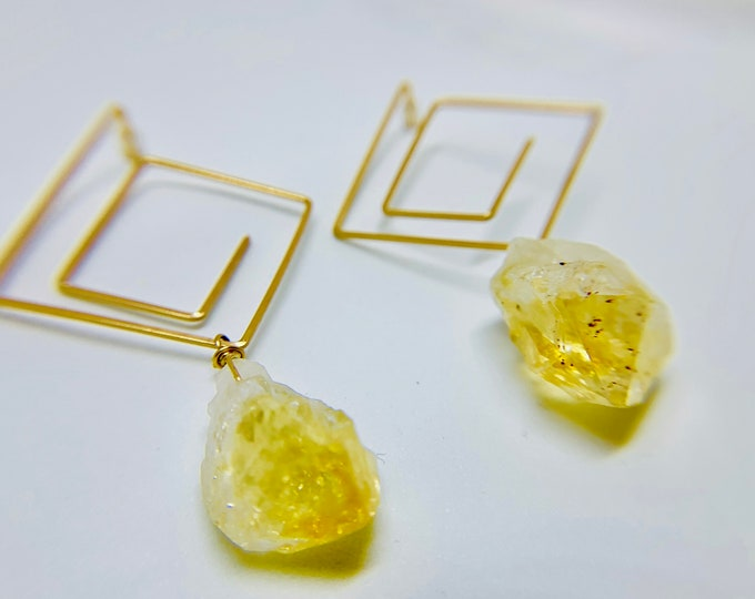 Citrine or Amethyst Square Gold Geometric Golden Stud Earrings, Amethyst, Gift, Contemporary Jewelry, Handmade Colorado, Art Earring, Quartz