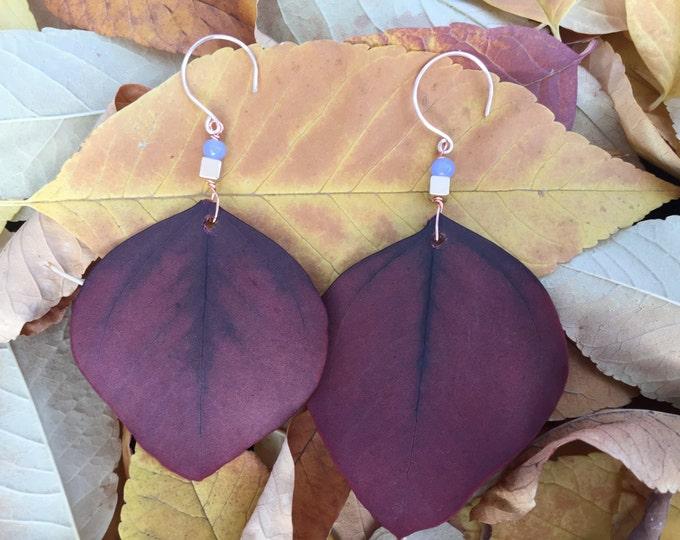 Woodland Leaf/ Peru Leaf Dangling Earrings/ Lightweight Long Leafy Earrings/ Rustic Orange with detailed leaf veins visible