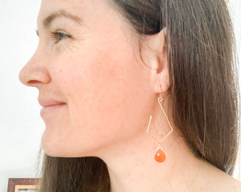 Carnelian Geometric Hoop Earrings, Gold, Contemporary Jewelry, Lightweight, Gift, Christmas, Backyard Find, Ammonite Swirls, Handmade