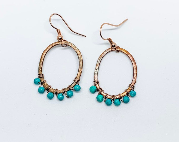 Turquoise oval hoops, oxidized bronze, wire wrapped, lightweight, gift for her, outdoors jewelry, bohemian style, hoop edged with turquoise