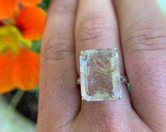 Natural Golden Rutilated Quartz Sterling Silver Ring, Size 8