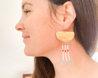 Egyptian Gold Shielded Beaded Earrings