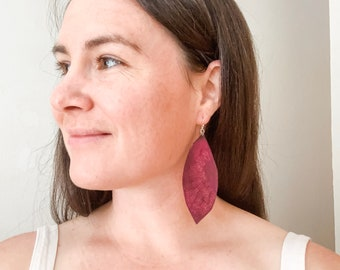 Stamped Leather Earrings, Oval, Purple Leather, Organic flow design, Handmade in Colorado