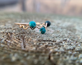 Mountain turquoise horizon stackable rings,