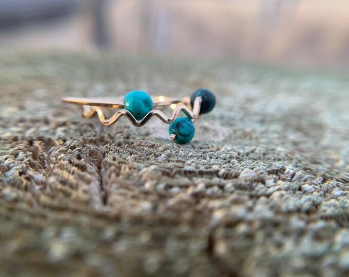 Mountain turquoise horizon stackable rings,