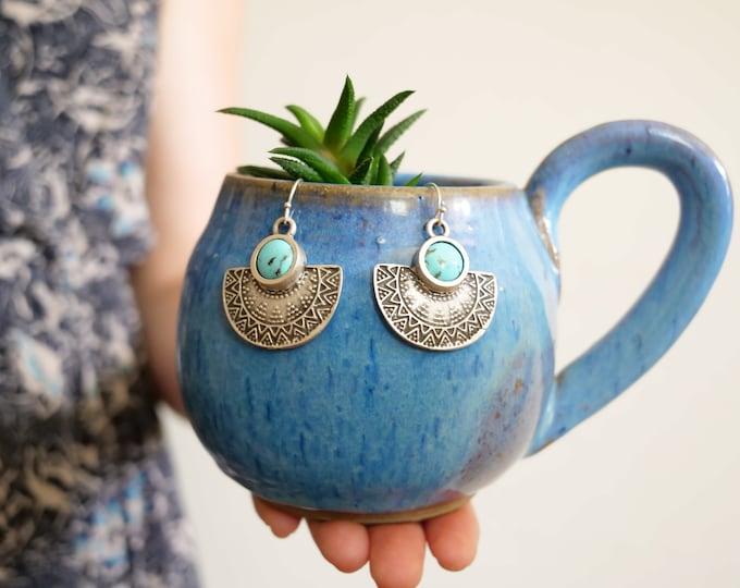 Blue Turquoise Mosaic Dangle Earrings