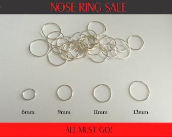 Silver Nose Ring 20G 22G 24G 6mm 9mm 11mm 13mm Rose Non Tarnish silver Nose Hoop Ring Gift for her Gift for him Girl Hoops Guy Hoop Handmade