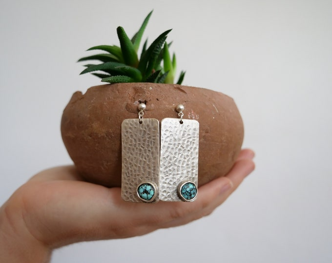Hammered Silver Earrings with Turquoise Inlay