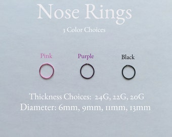 Punk nose ring, Gothic nose ring,  Pink nose ring, Purple nose ring, Black nose ring, 20 gauge, 22 gauge, 24 gauge, Nose, nose rings
