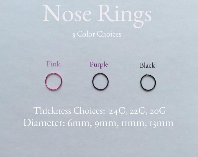 Body Jewelry Hoop: Black, Pink, or Purple