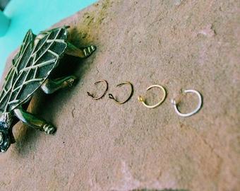 Feminine Nose Ring Delicate Thread Through Nose Ring 24 Gauge Thin Nose Ring Silver Nose Ring Bronze Nose Ring Copper Nose Ring Gold