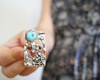 Kingman Turquoise Adjustable Silver Ring