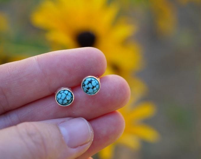 Spiderweb Turquoise Stud Earrings