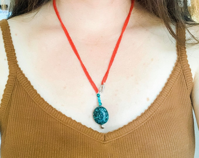 Turquoise Statement Necklace, Red Beaded Wrap Necklace