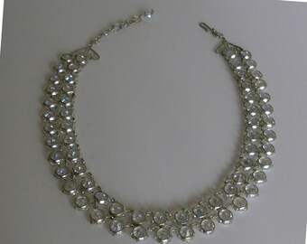 Double strand open back crystal necklace