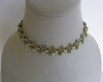 Forget me not flower bib necklace
