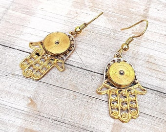 Hamsa Hand Steampunk Fashion Earrings