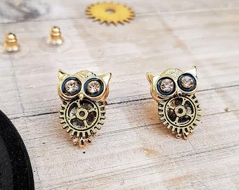 Steampunk Small Owl Earrings