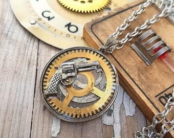 Steampunk Gun Necklace Revolver Pendant