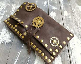 Brown Leather Pouch Tobacco Rolling Case Genuine Steampunk Style Bag Smokers Gift 50 gr