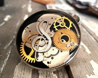Steampunk Violin Clef Key Spice Crusher - Tobacco Fine Herbs and Weed grinder - Amazing stoner gift for 4:20 girls boys - Metal Herb Grinder