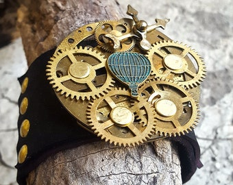 Steampunk Baloon Leather Wristband Cuff -Bracelet-Steampunk Bracelet-Leather cuffs-steampunk watch parts fashion gift